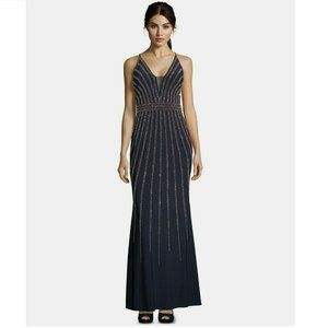 Xscape 6 Navy Rose Bead Embellished Gown NWT BW32